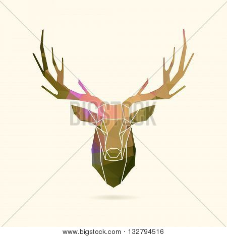 deer frame head polygon portrait illustration, geometric logo