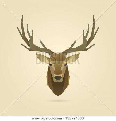 deer head portrait polygon illustration, geometric logo