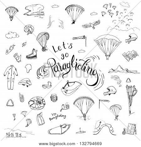 Let's go paragliding. Hand drawn lettering and doodles of paragliding gear.