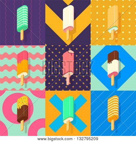 isometric ice lolly set with colorful patterns