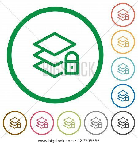 Set of locked layers color round outlined flat icons on white background