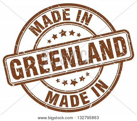 made in Greenland brown round vintage stamp.Greenland stamp.Greenland seal.Greenland tag.Greenland.Greenland sign.Greenland.Greenland label.stamp.made.in.made in.
