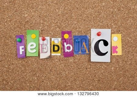 Feedback Concept With Letters Pinned On Cork Board