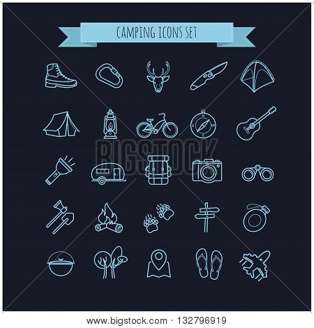 vector camping summer icons set on a black background for your design