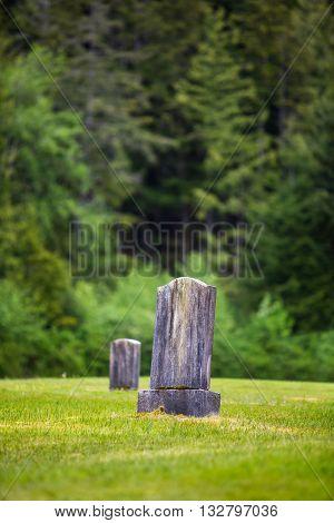 Blank gravestone on a peaceful grassy hillside