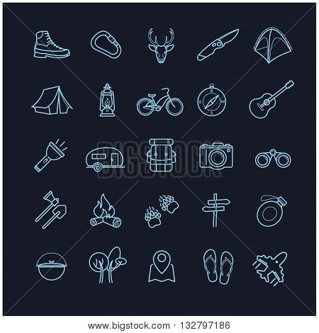 vector camping icons set on a black background for your design