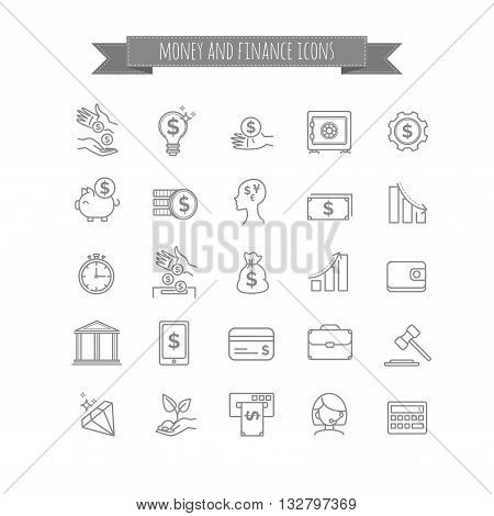 vector busines, money and finance thin line icon set for your design