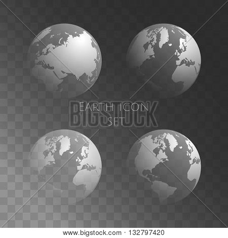 Transparent Globe Set. Vector Earth Globe On Dark Transparent Background. Easy To Replace Background