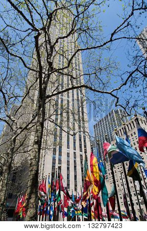 NEW YORK, USA - APRIL 21, 2016: Building of the Rockefeller Center. The Center is a complex of 19 commercial buildings. It was declared a National Historic Landmark in 1987.
