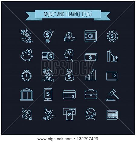 vector busines, money and finance thin line icon set on a black background for your design