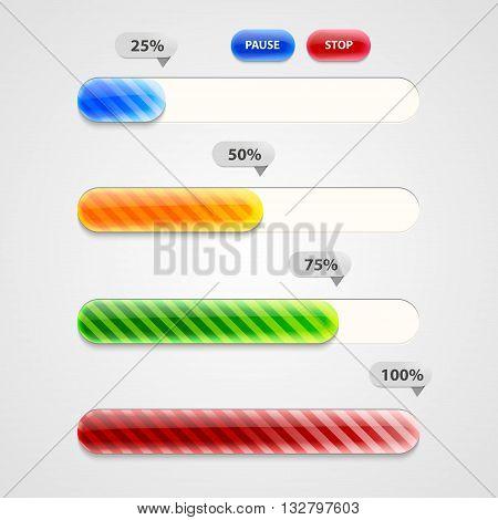 Web Progress Bar or downloading, vector design template