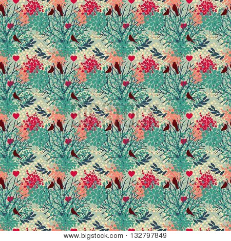 seamless pattern with birds and blooming trees, vector illustration