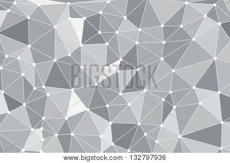 Background polygon with points. Gray color. Abstract geometric background with polygons. Molecule and communication background. Background triangulation dots