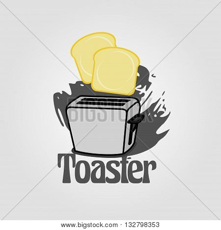 toaster grunge background with two bread toasts