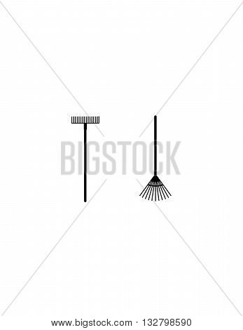 metal rake, wooden rake, tools for landscaping, clean up