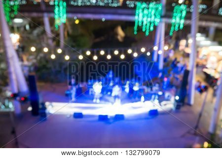 Mini Concert In Outdoor Night Club Blurred
