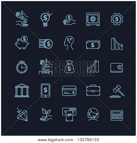 busines, money and finance vector thin line icon set on a black background foryour design