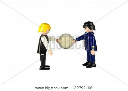 toy person gives a bribe two people on a white background