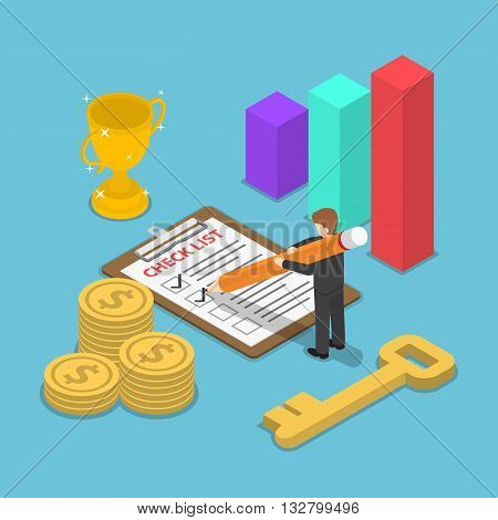 Isometric Businessman Checking Mark On Checklist
