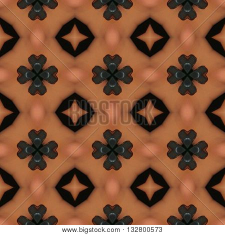 Brown and black ornaments pattern with cloverleaf