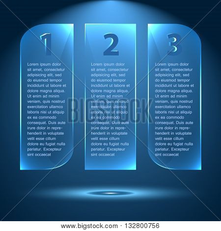 Abstract glossy and glowing options, steps 1 2 3. Trendy style vector