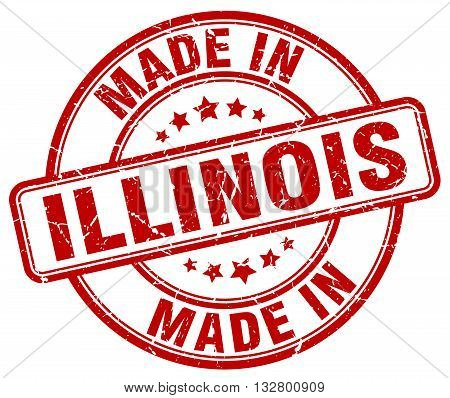 made in Illinois red round vintage stamp.Illinois stamp.Illinois seal.Illinois tag.Illinois.Illinois sign.Illinois.Illinois label.stamp.made.in.made in.
