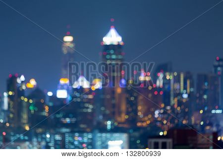 Abstract blurred bokeh light, Office building tower light night view