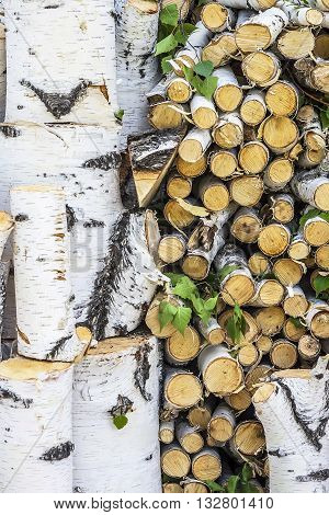 Birch firewood. A stack of wood from fresh sawn birch