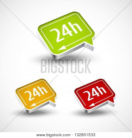 24h icon for your buseness and designs vector