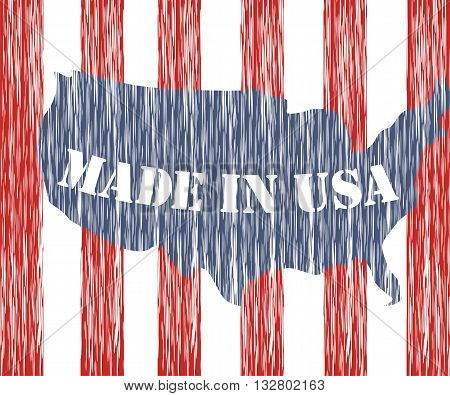 Made in USA. Patriotic design map and the flag of America