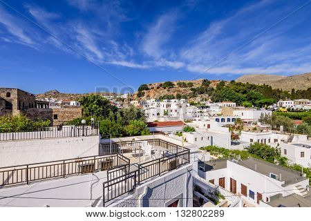 View of the picturesque village of Lindos with its traditional white houses, Rhodes island, Dodecanese, Greece.