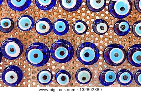 Group of traditional Turkish Amulet Evil Eye, the blue eye also known as Nazar Boncugu