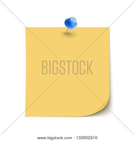 Vector Note Paper with pin on white background isolated vector