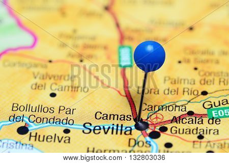 Camas pinned on a map of Spain