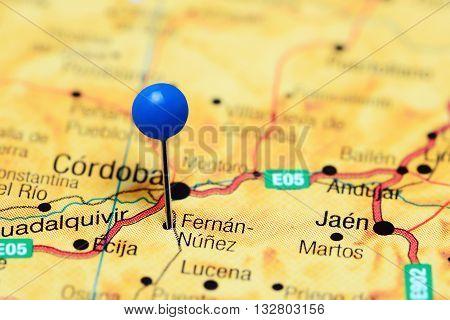 Fernan-Nunez pinned on a map of Spain
