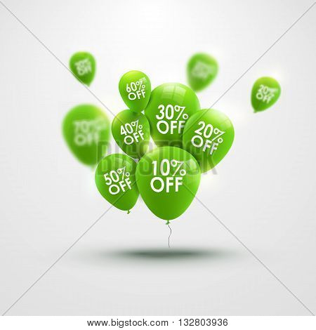 Trendy beautiful background with green baloons and discounts vector