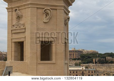 Park in a part of fortification of the city Senglea at the mediterranean island Malta. Tower with a view on the maltese capital Valletta.