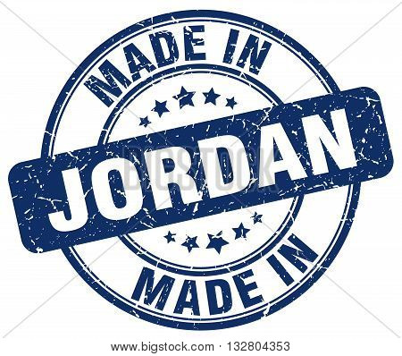 made in Jordan blue round vintage stamp.Jordan stamp.Jordan seal.Jordan tag.Jordan.Jordan sign.Jordan.Jordan label.stamp.made.in.made in.