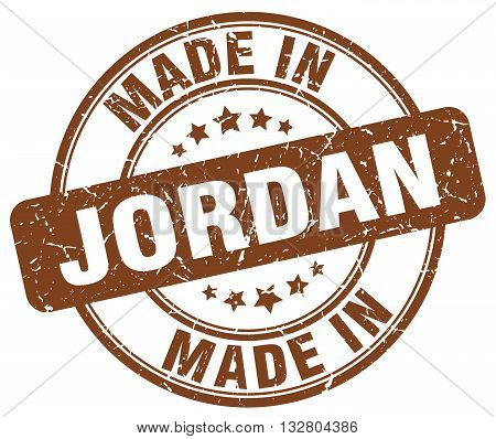 made in Jordan brown round vintage stamp.Jordan stamp.Jordan seal.Jordan tag.Jordan.Jordan sign.Jordan.Jordan label.stamp.made.in.made in.