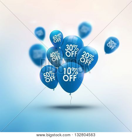 Trendy beautiful background with baloons and discounts vector