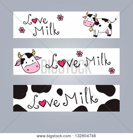 Cartoon cow web banner for web. love milk