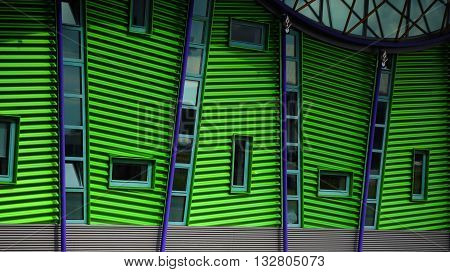 Rotterdam architecture green building wall with windows.