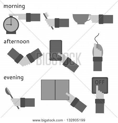 Activities during the day. Hands with various objects. Daily routine. Set of flat icons