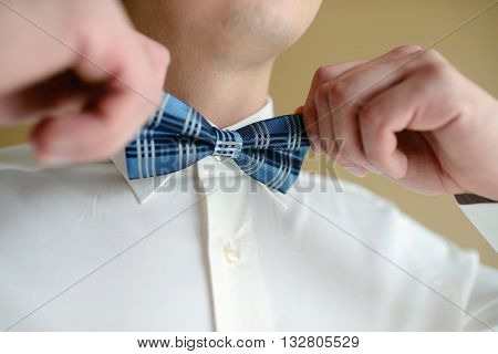 Groom Is Wearing A Bowtie Indoors. Male Portrait Of Handsome Guy. Beautiful Model Boy In Colorful We