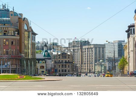 Moscow, Russia - May 17, 2016. Lubyanka Square with views of the State Duma