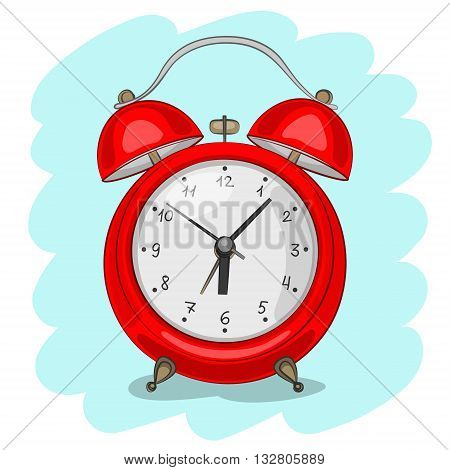 Red alarm clock on blue background. Symbol of time. Stylized sketch by hand