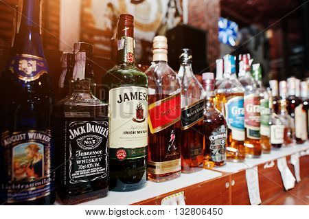 Kyiv, Ukraine - March 25, 2016: Various Alcoholic Beverages Bottles In The Bar. Jack Daniels, Jameso