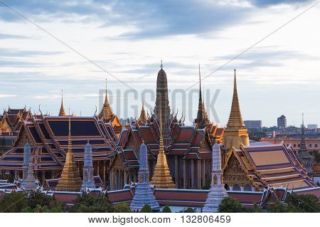 Aerial view Bangkok Grand Palace, The most famous Thailand travel landmark in Bangkok