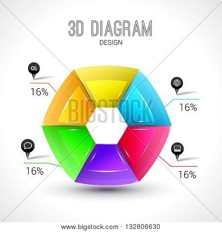 3d diagram infographic, colorful and trendy shape.