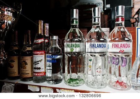 Kyiv, Ukraine - March 25, 2016: Various Alcoholic Beverages Bottles In The Bar. Finlandia Finland Vo